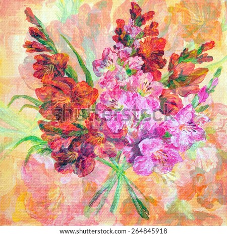 Picture Oil Painting on a Canvas, a Bouquet of Flowers Gladiolus - stock photo