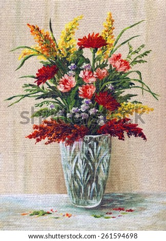 Picture Oil Painting on a Canvas, a Bouquet of Flowers in a Crystal Vase - stock photo
