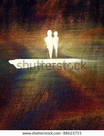 picture painted by me called Couple. It shows a symbolic man and a woman in colorful abstract background