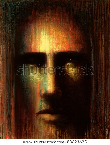 picture painted by me called In mind VI, it shows a frontal mystic face with meditative expression in warm colors - stock photo