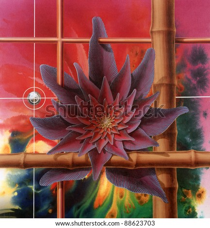picture painted by me called Progress, it shows a surreal colorful flower, some crossed stacks and planet earth in cross lines