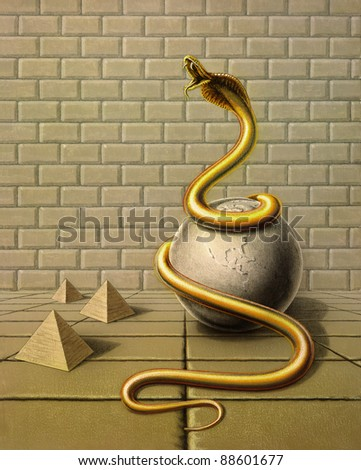 Picture painted by me, named Occupancy, it shows a golden snake wound around a globe made of stone in surreal ambiance with stone tiles, stone wall and pyramids