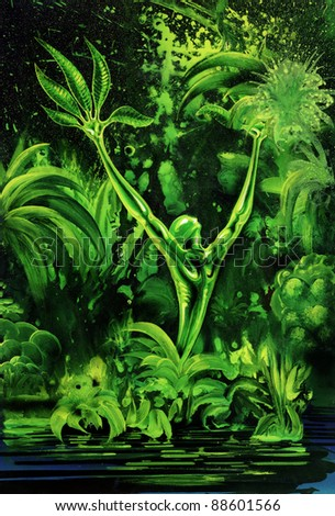 picture painted by me, named Outgrow, it shows a aspiring surreal human-looking green plant in vibrant jungle vegetation