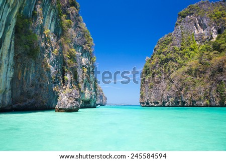 Picture perfect tropical Maya bay on Koh Phi Phi Le Island, Thailand, Asia. - stock photo