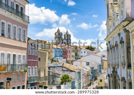 Picture postcard view of the colonial skyline of the historic center of Pelourinho in Salvador da Bahia, Brazil - stock photo