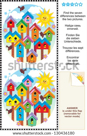 Picture puzzle: Find the seven differences between the two pictures of colorful spring birdhouses ( for vector EPS see image 130436183 )  - stock photo
