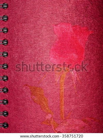 picture red rose on red Note book for valentine
