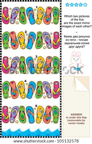 Picture riddle or visual puzzle suitable both for kids and adults: Which two pictures of colorful flip-flops are exact mirror images of each other? For vector EPS see image 105132581  - stock photo