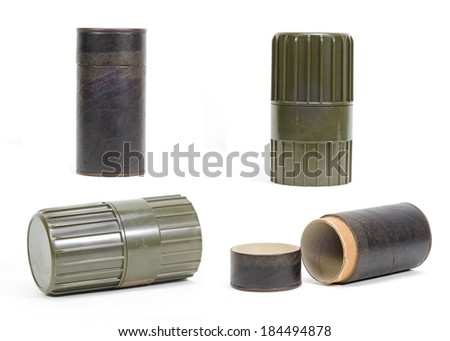 picture set of Cylindrical shape plastic container on white background - stock photo