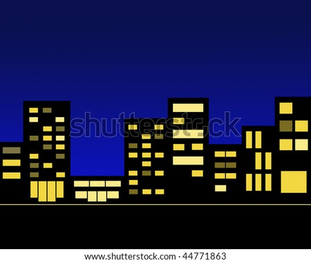 Picture silhouettes of the night city buildings shine windows - stock photo