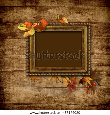 Picture vintage frame on a wooden background - stock photo