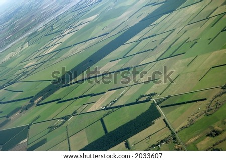 Picture was taken in New Zealand from the air. - stock photo