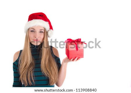 Picture with happy young girl with gift box - stock photo