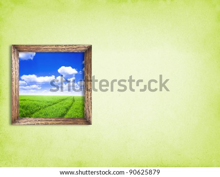 Picture with nature on green wall - stock photo