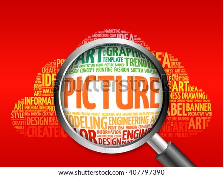 PICTURE word cloud with magnifying glass, business concept - stock photo