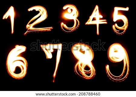 Pictured by light numbers  - stock photo
