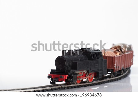 Pictured items of a toy railroad. - stock photo