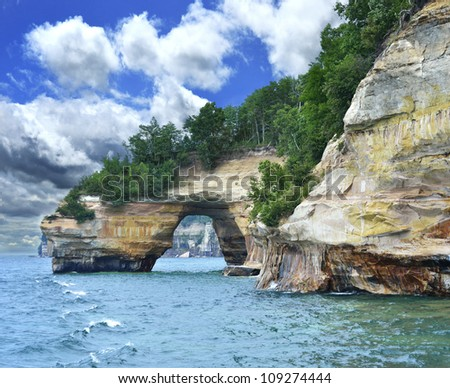 Pictured Rock National Lake Shore Michigan State - stock photo