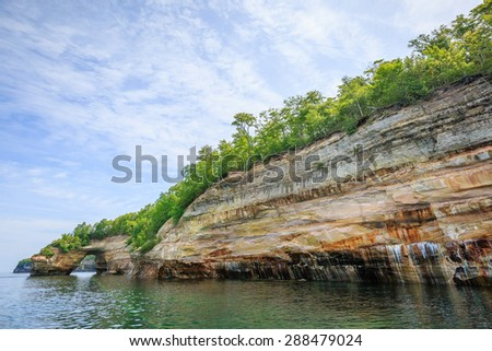 Pictured Rock National Lake Shore Michigan State on Lake Superior - stock photo