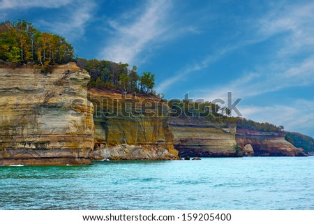 Pictured Rocks Cliffs National Lakeshore near Munising Michigan, Upper Peninsula - stock photo