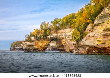 Pictured Rocks National Lake Shore located in Upper Peninsula, Michigan, USA  - stock photo