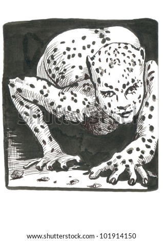 Pictures and frames inspired by classic underground comix - LEOPARD WOMAN - (this is original picture - technical black marker and black ink, drawing) - stock photo