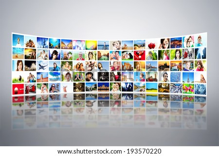 Pictures display on wide modern monitors, screens forming a big multimedia broadcast. All photos are mine. Concepts of television, adverstising, high definition, entertainment.