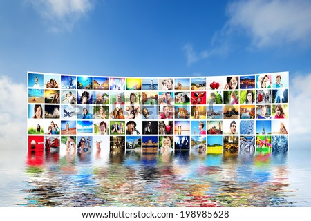 Pictures display on wide modern monitors, screens forming a big multimedia broadcast. All photos are mine. Concepts of television, adverstising, high definition, entertainment. - stock photo