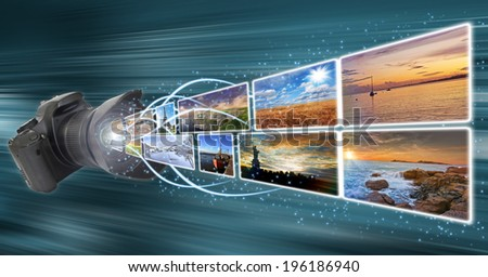 Pictures going out of a camera lens illustration - stock photo