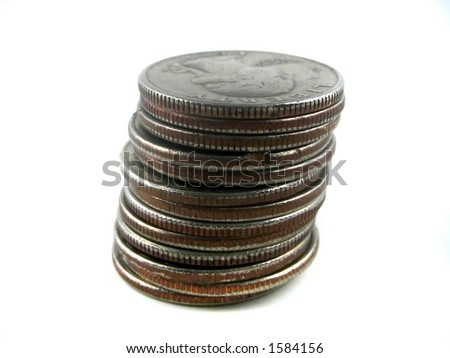 Pictures of coins on top of each other - stock photo