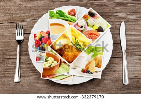 pictures of food in a dish, fork and knife - stock photo