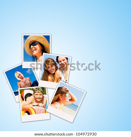 pictures of holiday people having rest over blue background - stock photo