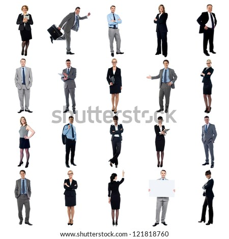 Pictures of multiracial business executives. Business collage. - stock photo