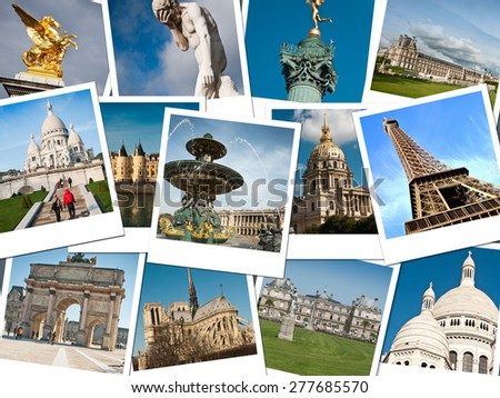 pictures of Paris for memory - collage - stock photo