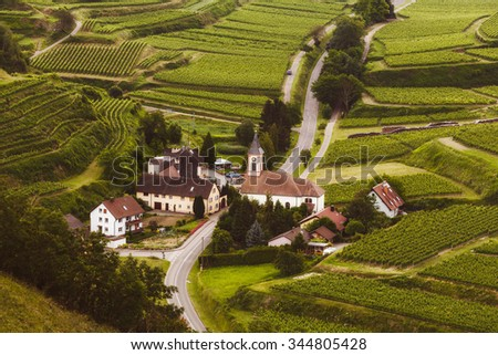Picturesque aerial landscape with a small historic village in Germany, Kaiserstuhl, Black Forest.  - stock photo