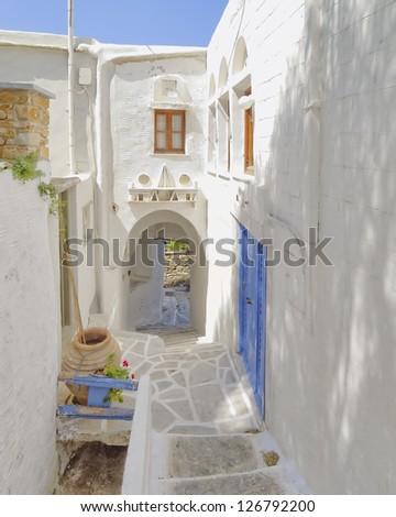 picturesque alley in a mediterranean island - stock photo