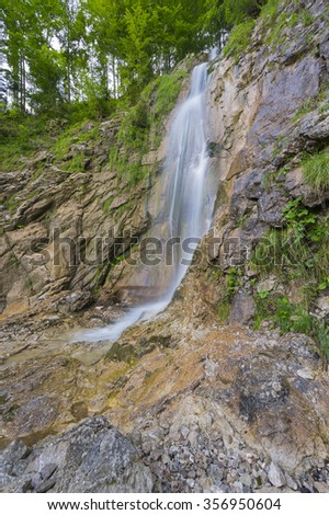 Picturesque alpine waterfall