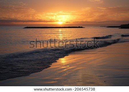 Picturesque and moody sunset over tenerife, canary islands, spain - stock photo