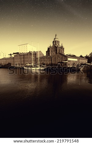 picturesque and very beautiful HDR photos Helsinki. Elements of this image furnished by NASA  - stock photo