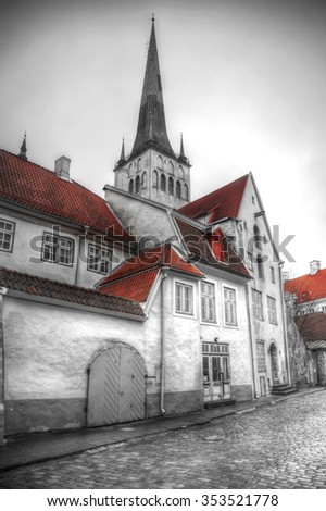 picturesque and very beautiful HDR photos of Tallinn - stock photo