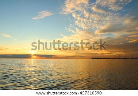 Picturesque australian sea sunset, Port Phillip, Frankston, Victoria, Australia - stock photo