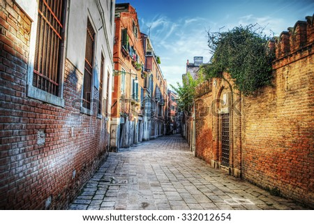 picturesque backstreet in Venice, Italy - stock photo