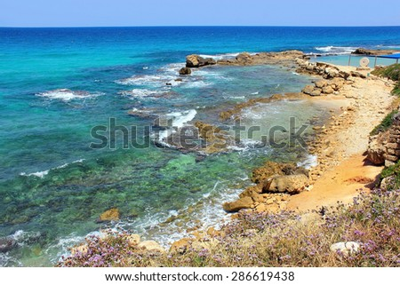 picturesque bay of the Mediterranean Sea, nature reserve Achziv in the Western Galilee, Israel - stock photo