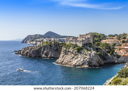 Picturesque bay with rocks near Lovrijenac Fort. Dubrovnik - UNESCO World Heritage Site. Croatia. - stock photo