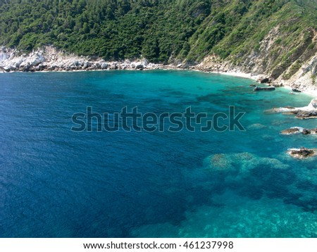 Picturesque bay with turquoise transparent water from aerial view