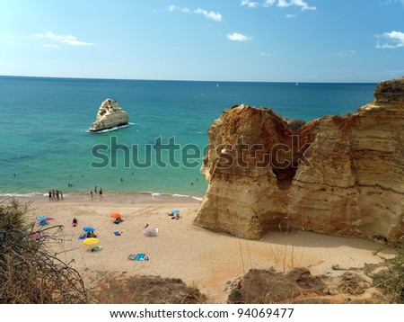Picturesque beaches of the Algarve in Portugal - stock photo