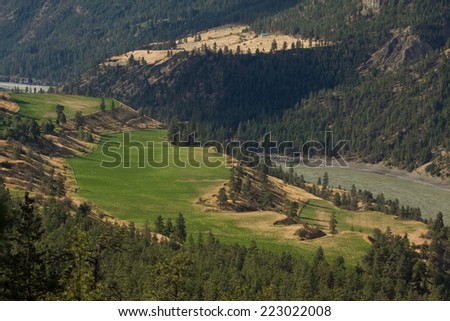 Picturesque benchlands in the upper Fraser Canyon, British Columbia, Canada - stock photo