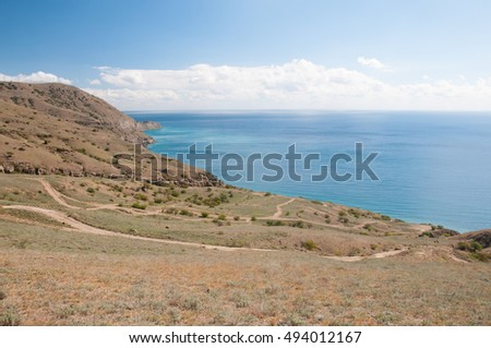 Picturesque Black Sea coastline seen from the top of Meganom cape, eastern Crimea