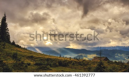 Picturesque Carpathian mountains landscape, dramatic scenery of sunset. Ukraine, Europe