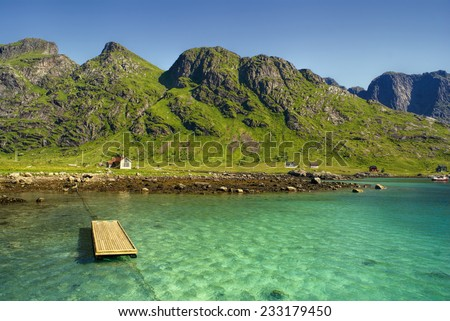Picturesque coastline of Lofoten islands in Norway near Reine - stock photo